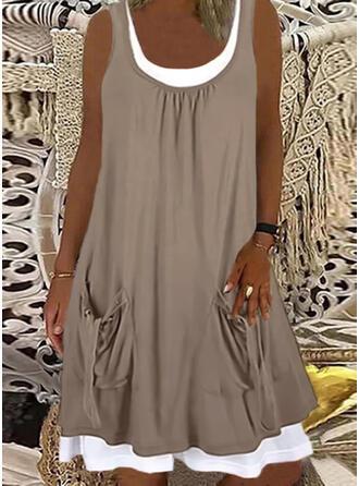 Solid Sleeveless Shift Knee Length Casual Tank Dresses