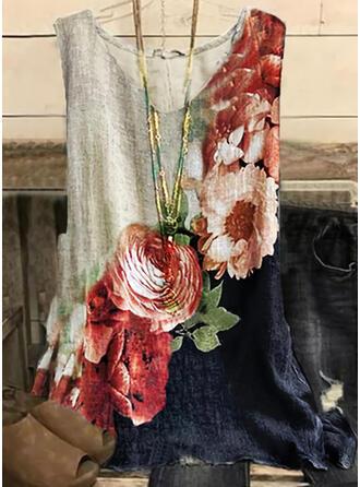 Color Block Floral Print V-Neck Sleeveless Tank Tops