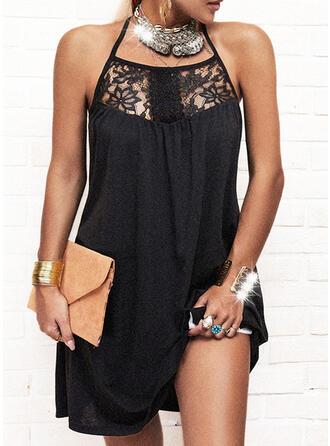 Lace/Solid Sleeveless Shift Above Knee Little Black/Elegant Dresses