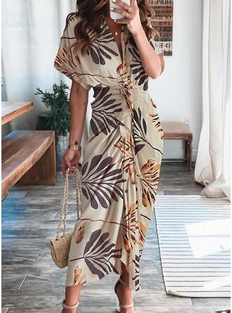 Print Short Sleeves Sheath Casual/Vacation Midi Dresses