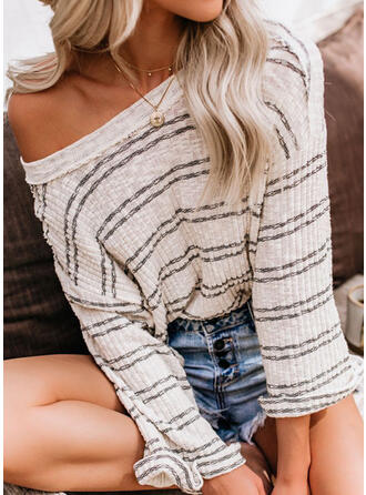 Striped Off the Shoulder Casual Sweaters