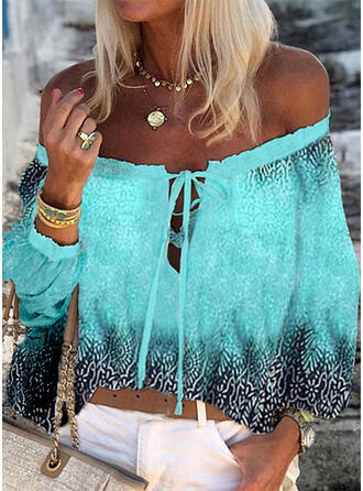 Print Lace-up Off the Shoulder 3/4 Sleeves Casual Blouses