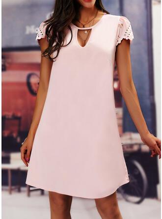 Solid Short Sleeves Shift Knee Length Casual/Elegant Tunic Dresses