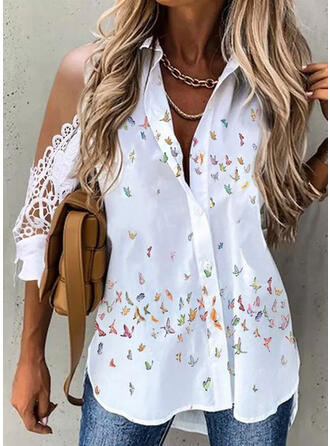 Animal Print Lace Cold Shoulder 3/4 Sleeves Button Up Casual Shirt Blouses