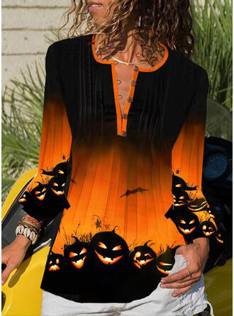 Print V-Neck 3/4 Sleeves Button Up Casual Halloween Blouses