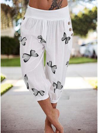 Print Plus Size Casual Plain Lounge Pants