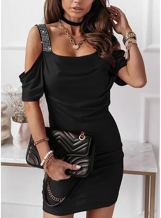 Sequins/Solid Short Sleeves Bodycon Above Knee Little Black/Elegant Dresses