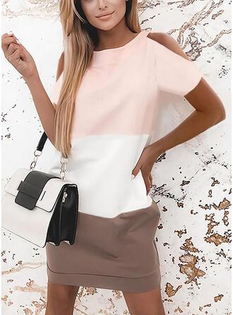 Sequins/Color Block Short Sleeves Shift Above Knee Elegant Dresses
