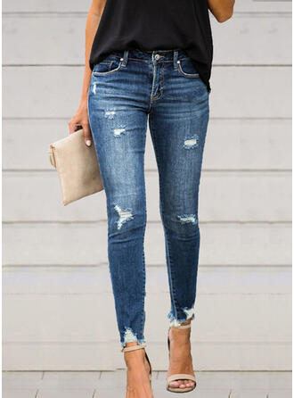 Solid Cotton Long Elegant Sexy Pocket Ripped Pants Denim & Jeans