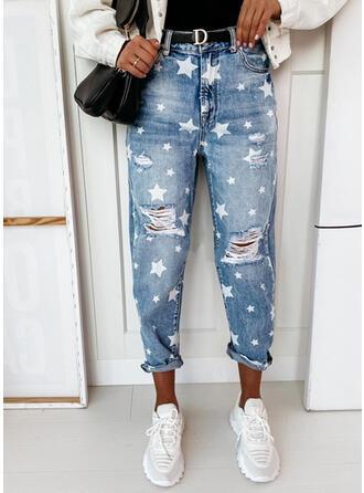 Print Star Denim Long Casual Denim & Jeans