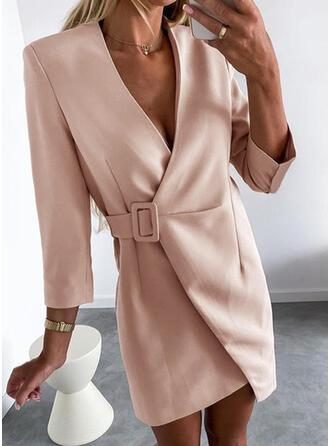 Solid 3/4 Sleeves Sheath Above Knee Elegant/Office/Business Wrap Dresses