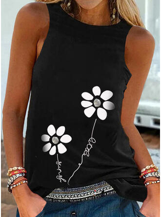 Floral Print Letter Round Neck Sleeveless Tank Tops