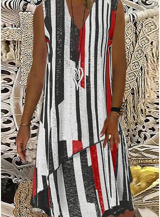 Print/Striped Sleeveless Shift Knee Length Casual Dresses