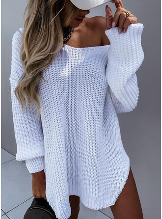 Solid V-Neck Casual Sweater Dress