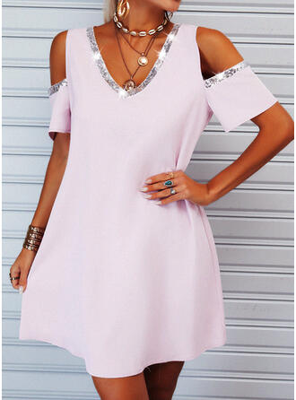 Sequins/Solid Short Sleeves Shift Above Knee Casual Tunic Dresses
