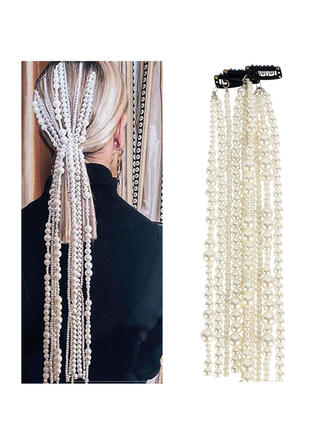 Unique Fashionable Elegant Alloy Imitation Pearls With Beads Faux Pearl Metal Chain Décor Women's Ladies' Girl's Hair Accessories 3 PCS