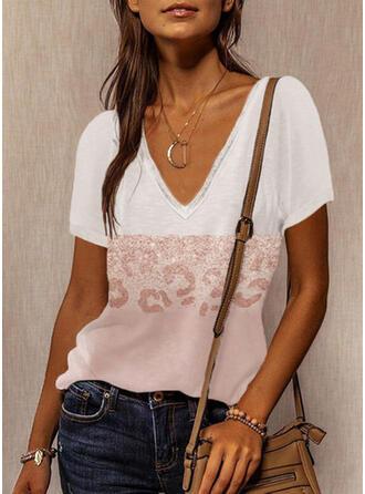 Color Block Leopard V-Neck Short Sleeves T-shirts