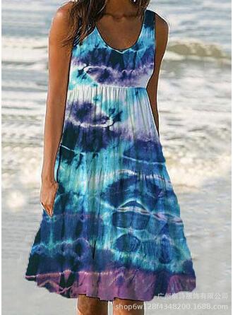 Splice color Strap U-Neck Retro Boho Cover-ups Swimsuits