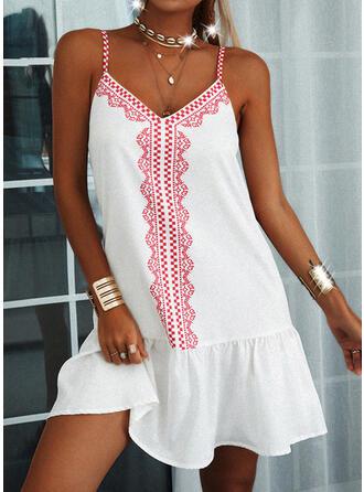 Print/Backless Sleeveless Shift Above Knee Casual Slip Dresses