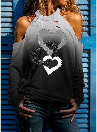 Gradient Heart Print Cold Shoulder Long Sleeves T-shirts