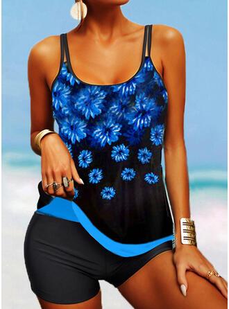 Floral String Strap U-Neck Retro Boho Tankinis Swimsuits
