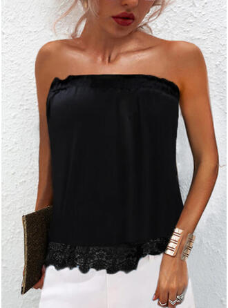 Solid Lace Strapless Sleeveless Tank Tops