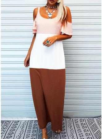 Color Block 1/2 Sleeves Shift Casual/Vacation Maxi Dresses