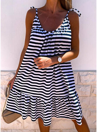 Striped/Backless Sleeveless Shift Knee Length Casual Slip Dresses