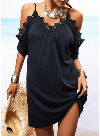 Lace/Solid 1/2 Sleeves Shift Above Knee Little Black/Casual Tunic Dresses