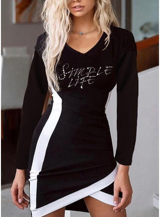 Print/Color Block/Letter Long Sleeves Bodycon Above Knee Casual Dresses