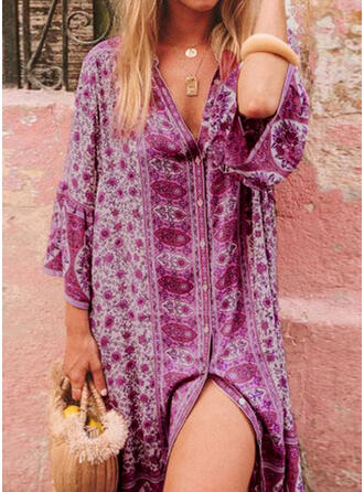 Print 1/2 Sleeves Flare Sleeve Shift Knee Length Boho Tunic Dresses