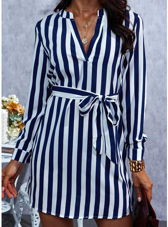 Striped Long Sleeves Sheath Above Knee Casual Dresses