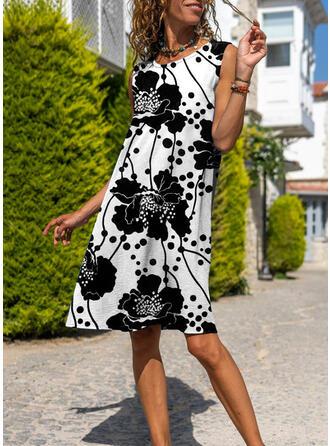 Floral Sleeveless A-line Knee Length Casual Dresses