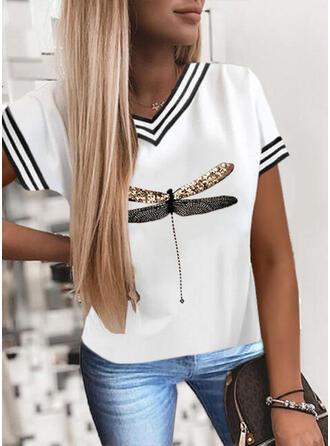 Animal Print Sequins Striped V-Neck Short Sleeves T-shirts