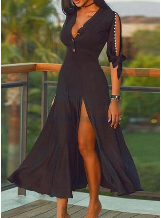 Solid/Beaded 1/2 Sleeves/Split Sleeve A-line Skater Little Black/Casual Midi Dresses