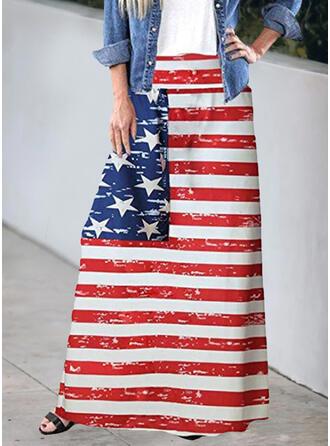 Cotton Blends Print Maxi A-Line Skirts