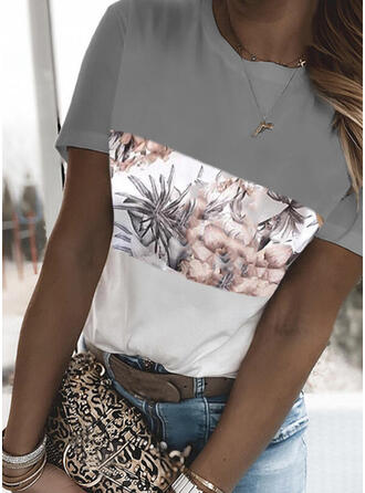 Color Block Floral Print Round Neck Short Sleeves T-shirts