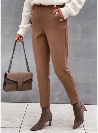 Solid Long Elegant Plus Size Office/Business Pocket Pants