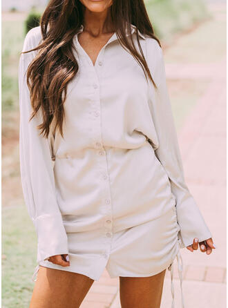 Solid Long Sleeves Cocoon Above Knee Casual Dresses