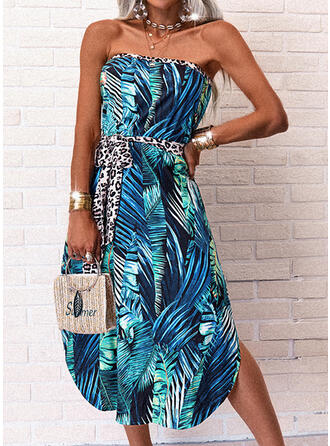 Print/Leopard/Backless Sleeveless A-line Skater Casual/Vacation Midi Dresses