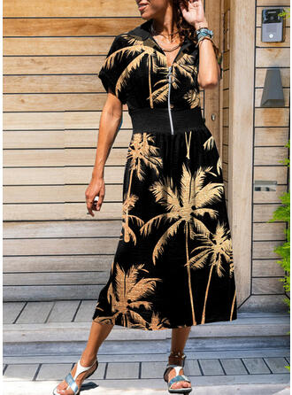 Floral Short Sleeves A-line Vacation Maxi Dresses