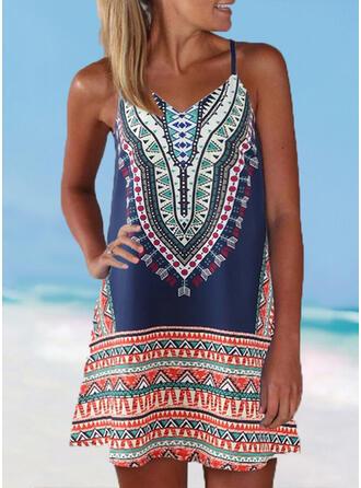 Stripe Splice color Strap V-Neck Boho Cover-ups Swimsuits
