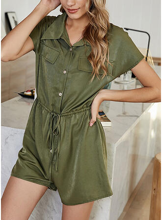 Solid Shirt collar Short Sleeves Casual Romper