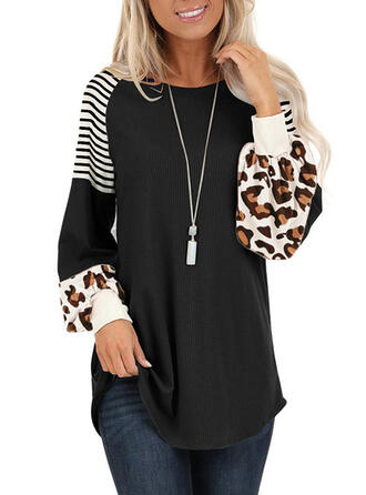 Striped Leopard Round Neck Long Sleeves Sweatshirt