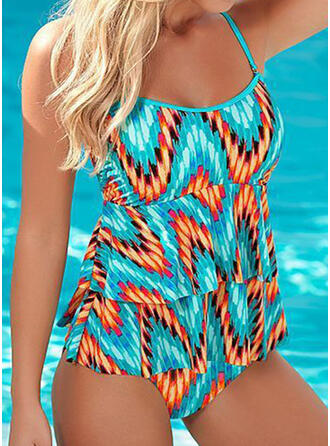 Print Strap U-Neck Fashionable Beautiful Casual One-piece Swimsuits