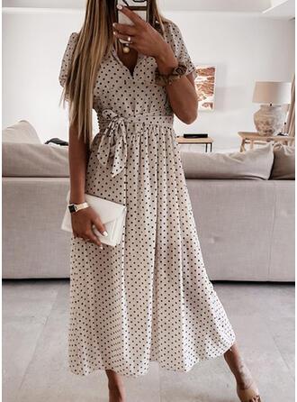 PolkaDot Short Sleeves/Puff Sleeves A-line Skater Casual Midi Dresses