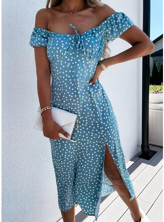PolkaDot/Lace-up Short Sleeves A-line Skater Casual Midi Dresses