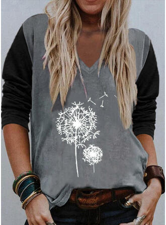 Color Block Dandelion Print Cotton V-Neck Long Sleeves T-shirts