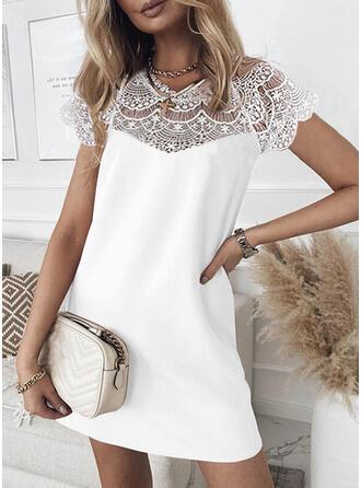 Lace/Solid Short Sleeves Shift Above Knee Elegant Dresses