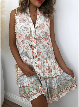 Print/Floral Sleeveless Shift Above Knee Casual/Boho/Vacation Shirt Dresses
